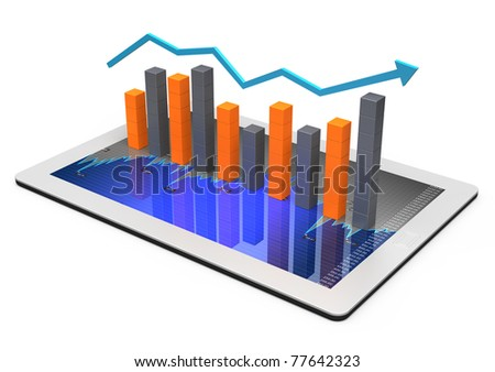 Tablets with a bar graph. Market data. - stock photo