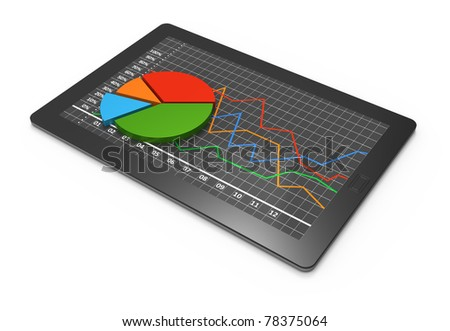 Tablets with  pie and linear chart - stock photo