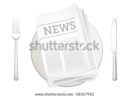 tableware and newspaper on the white background