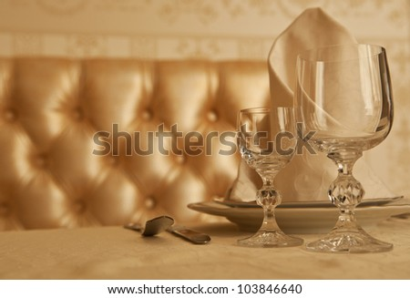 tableware at an expensive restaurant - stock photo