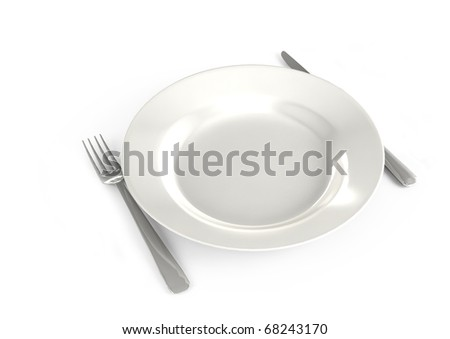 tableware in the restaurant on a white background - stock photo