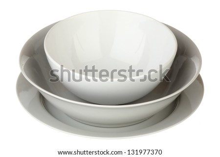 Tableware isolated over white background