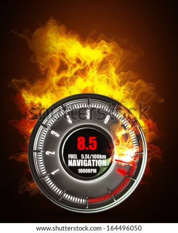 tachometer in Fire. High resolution. 3D image