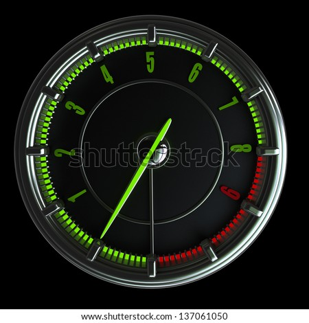 tachometer isolated on black background. High resolution 3d render - stock photo