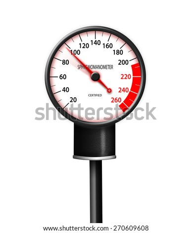 Tachometer-like sphygmomanometer isolated on white - stock photo