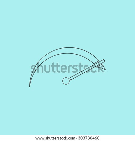 Tachometer. Outline simple flat icon isolated on blue background - stock photo