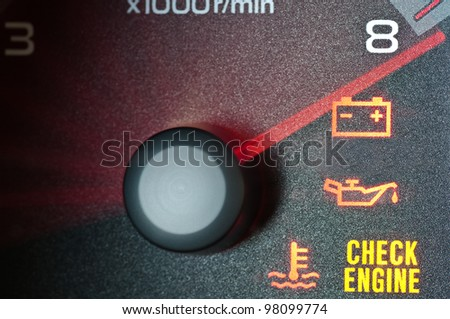 Tachometer redline with warning indicators - stock photo