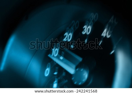 Tachometer stopped during an accident. Fuzzy tachometer, a drunk driver - stock photo