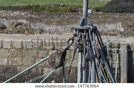 tackle from a ships mast  - stock photo