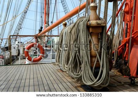 Tackle sailing ship - stock photo