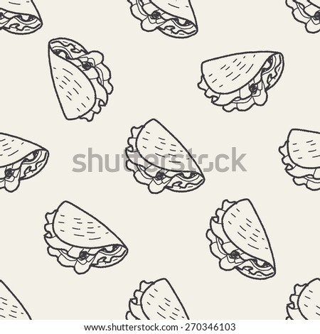 taco doodle seamless pattern background