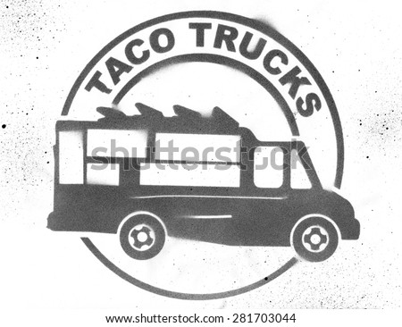 Taco Food Truck Stencil - stock photo