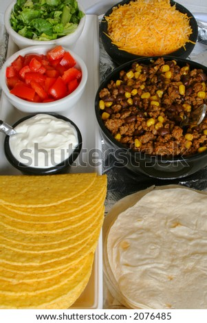 taco & toppings - stock photo