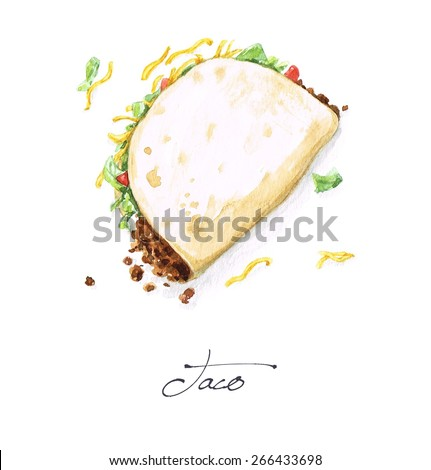 Taco - Watercolor Food Collection - stock photo