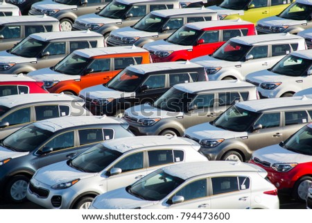 Tacoma, Washington / United States - January 15, 2018: Car dealership storage overflow lot
