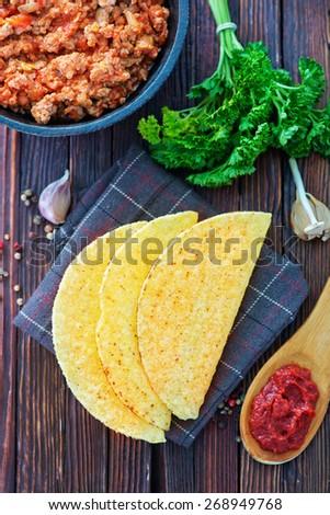 Tacos - in mexican yellow corn tortilla , empty tortilla - stock photo