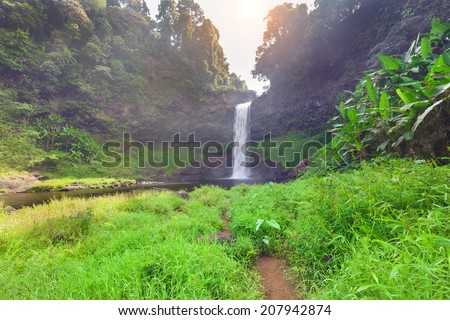 Tad E Tu Waterfall, Bolaven plateau, Pakse, Laos - stock photo