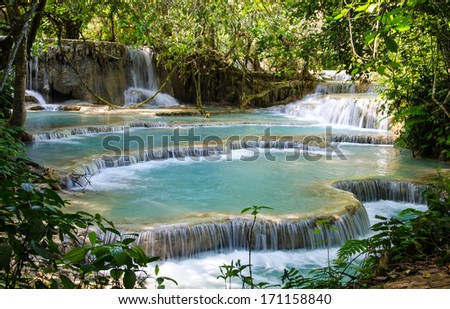 Tad Kwang Sri Waterfall, this waterfall was considered to be the most beautiful waterfall in Asia.