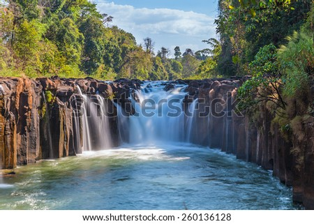 Tad Pha Souam the waterfall in Laos - stock photo