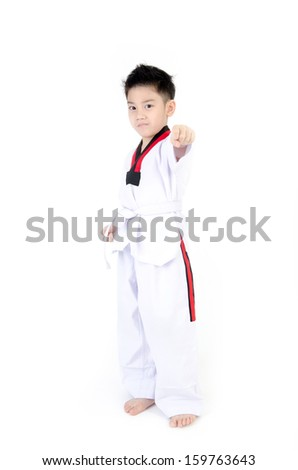Taekwondo action  by a asian cute boy, isolate on white background