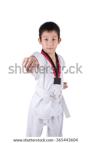 taekwondo action isolated by Asian boy with clipping path.
