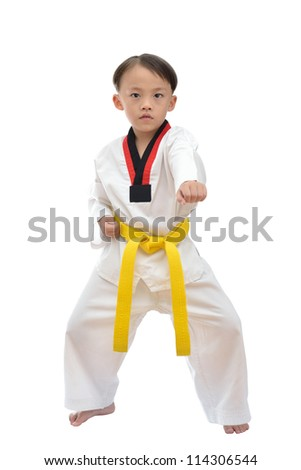 Taekwondo boy uniform in action isolated on white background. - stock photo