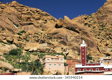 Tafraoute  in the Anti-Atlas mountains, Morocco, Africa - stock photo