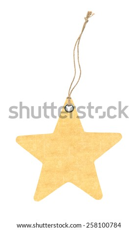 Tag in form of star with metal rivets isolated on White - stock photo