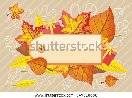 Tag label template for autumn sale. Fall sale, autumn leaves, autumn background, discount tag price, season promotion, offer advertising, retail shopping, fashion business. Raster version - stock photo
