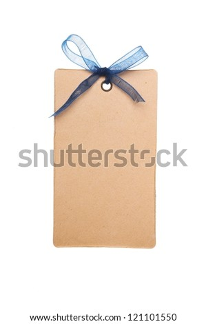 Tag or label with blue bow isolated on white