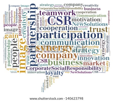 Tag or word cloud business related in shape of callout - stock photo