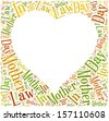 Tag or word cloud Mother In Law day  in shape of heart frame with empty space for text or photo - stock photo
