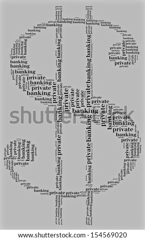 Tag or word cloud private banking related in shape of dollar symbol - stock photo