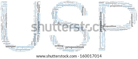 Tag or word cloud unique selling proposition related in shape of USP - stock photo
