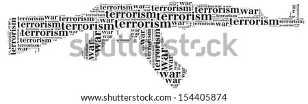 Tag or word cloud war or terrorism related in shape of ak-47 or Kalashnikov machinegun - stock photo