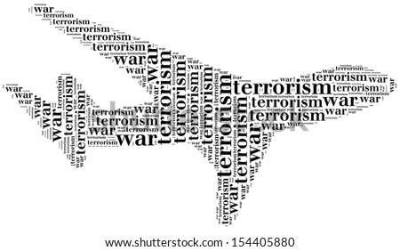 Tag or word cloud war or terrorism related in shape of plane - stock photo