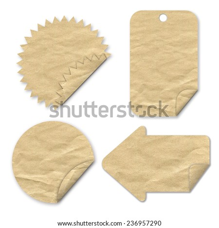 tag paper craft stick on white background - stock photo