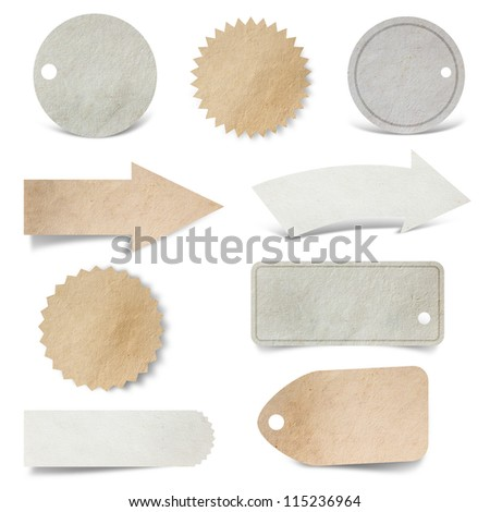 tag paper craft stick on white background (Save Paths For design work) - stock photo