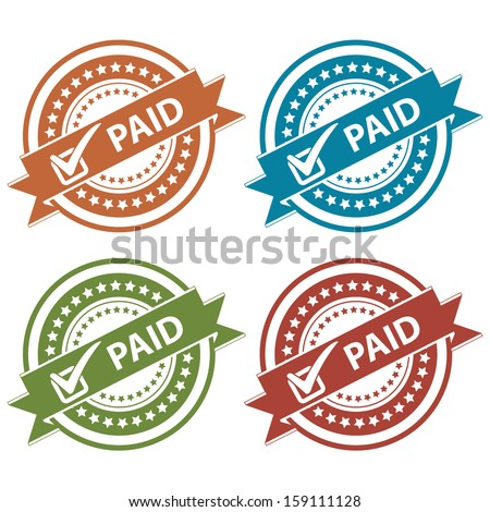 Tag, Sticker, Label or Badge For Product Certification or Product Verification Present By Colorful Paid Ribbon With Check Mark Sign on Colorful Icon Isolated on White Background  - stock photo