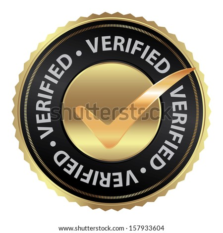 Tag, Sticker, Label or Badge For Product Certification or Product Verification Present By Golden Verified Icon With Check Mark Sign Inside Isolated on White Background