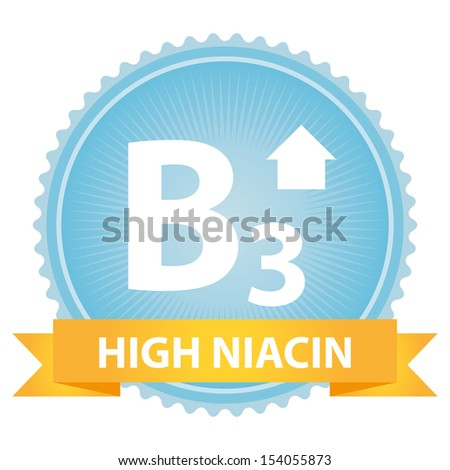 Tag, Sticker or Badge For Healthy, Weight Loss, Diet or Fitness Product Present By Orange High Niacin Ribbon on Blue Badge With High Vitamin B3 Sign Isolated on White Background
