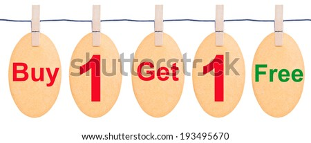 Tag tied with black string isolated against a white background, clipping path. Buy 1 Get 1 Free - stock photo
