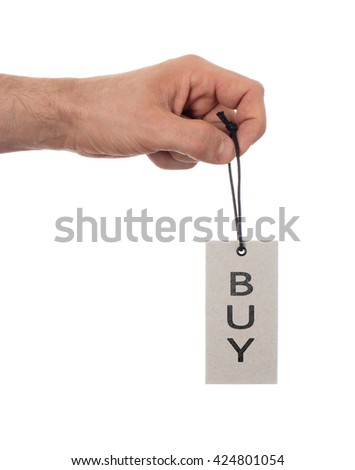 Tag tied with string, price tag - Buy (isolated on white) - stock photo
