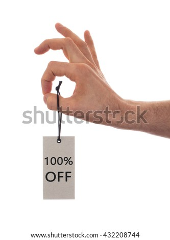 Tag tied with string, price tag - 100 percent off (isolated on white) - stock photo