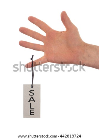 Tag tied with string, price tag - Sale (isolated on white) - stock photo
