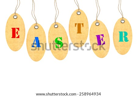 "Tag with metal rivets and word ""Easter"" Isolated on White - stock photo"