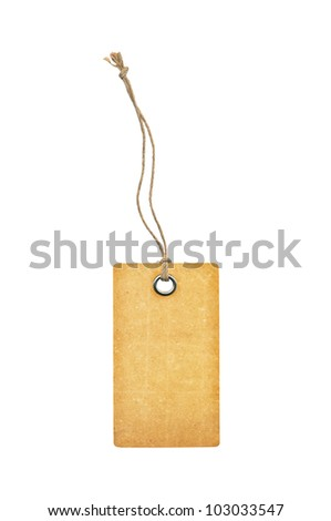 Tag with metal rivets Isolated on White