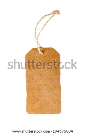 tag yellow cardboard with rope on white - stock photo