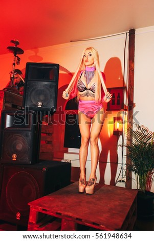 TAGANROG, RUSSIAN FEDERATION - January 14, 2017. Professional sexy go-go dancer girl in night club bar party.