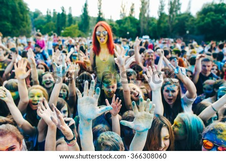TAGANROG, RUSSIAN FEDERATION - June 01, 2015. Roots of this festival are in India, where it called Holi Festival. Now russian people celebrate it too.